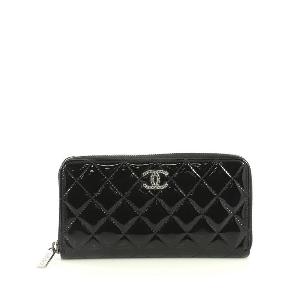 7503942e Chanel Brilliant Zip Around Wallet Quilted Long Black Patent Leather  Wristlet 23% off retail