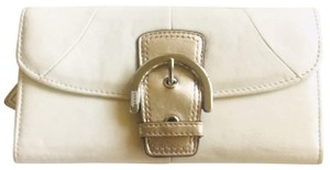 Coach Coach Ivory Leather Metallic Gold Buckle Foldover Clutch Wallet Unused READ