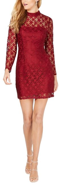 Item - Deep Red Star Lace Long Sleeves Mini Short Cocktail Dress Size 2 (XS)