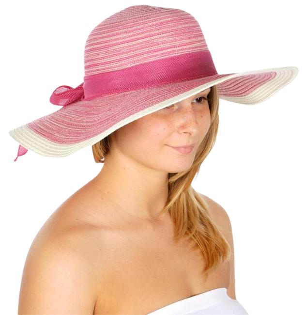 Unbranded Pink New Striped Floppy Bow Ribbon Hat Unbranded Pink New Striped Floppy Bow Ribbon Hat Image 1