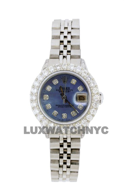 Rolex Blue Mop Dial 2.8ct Ladies 26mm Datejust Stainless with Appraisal Watch Rolex Blue Mop Dial 2.8ct Ladies 26mm Datejust Stainless with Appraisal Watch Image 1