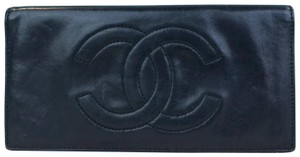 Chanel Chanel Black Lambskin Leather CC Logo Checkbook Cover Wallet SALE!