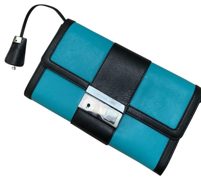 Item - Gia Color with Lock Black & Turquoise Leather Clutch