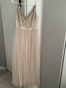 BHLDN Oyster Tulle Avery Formal Bridesmaid/Mob Dress Size 8 (M)