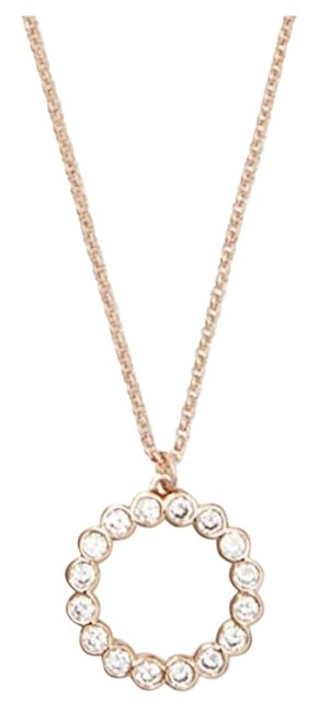 Kate Spade Rose Gold Clear W Full Cricle Mini Pendant Dust Bag Necklace Kate Spade Rose Gold Clear W Full Cricle Mini Pendant Dust Bag Necklace Image 1
