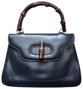 Gucci Vintage Bamboo Leather Satchel in Dark Blue