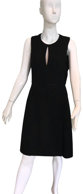 Adam Lippes Black Trimmed In Leather Mid-length Work/Office Dress Size 6 (S) Adam Lippes Black Trimmed In Leather Mid-length Work/Office Dress Size 6 (S) Image 1