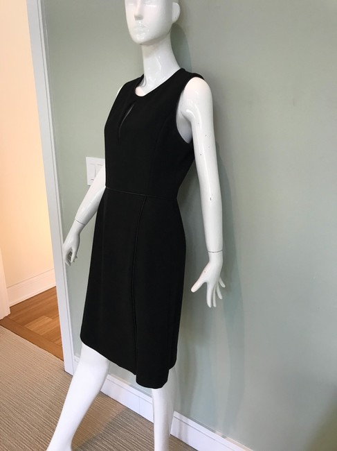 Adam Lippes Black Trimmed In Leather Mid-length Work/Office Dress Size 6 (S) Adam Lippes Black Trimmed In Leather Mid-length Work/Office Dress Size 6 (S) Image 2