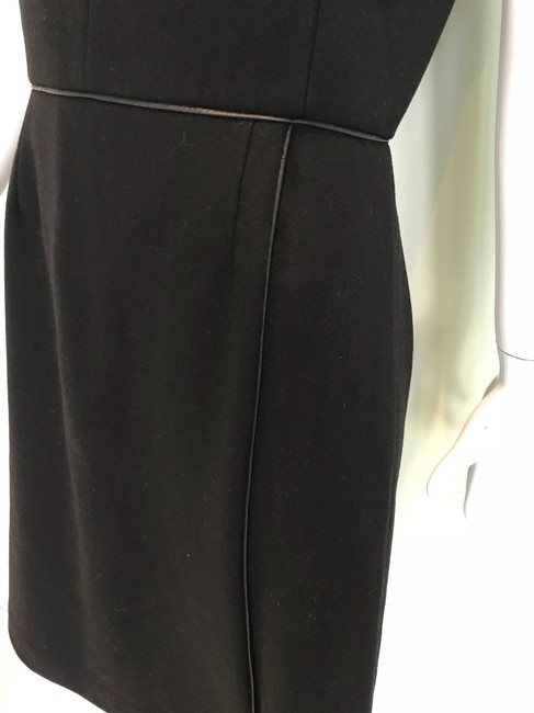 Adam Lippes Black Trimmed In Leather Mid-length Work/Office Dress Size 6 (S) Adam Lippes Black Trimmed In Leather Mid-length Work/Office Dress Size 6 (S) Image 3