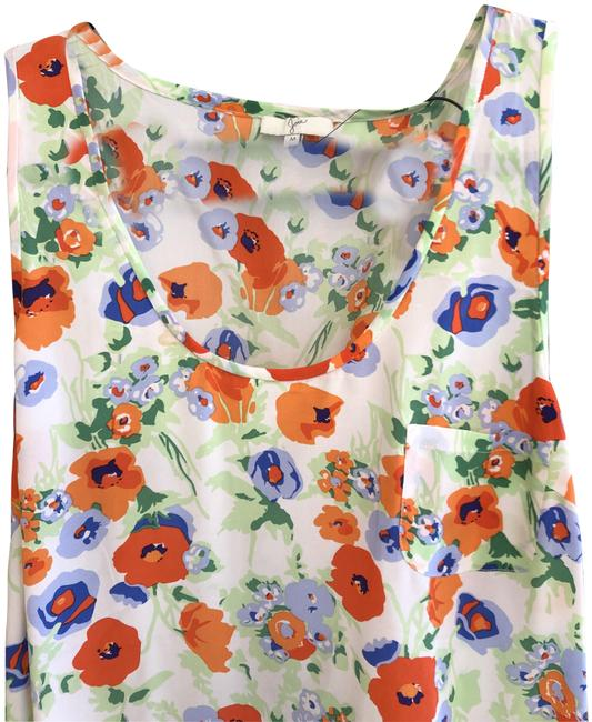 Item - Orange Green Blue Floral Print Silk Sleeveless Style#1039-20786b Blouse Size 8 (M)