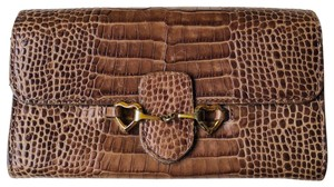 Moschino Moschino brown leather gold heart wallet
