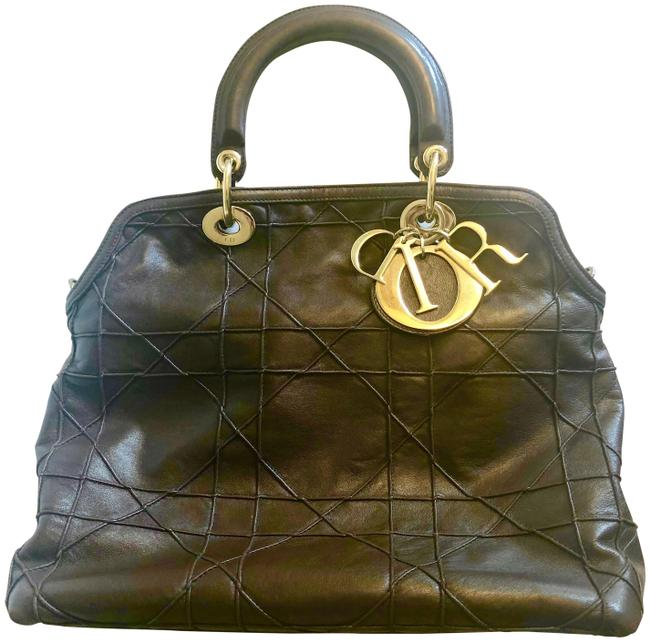Item - Granville Cannage Quilt Leather Dark Brown Lambskin Leather Satchel