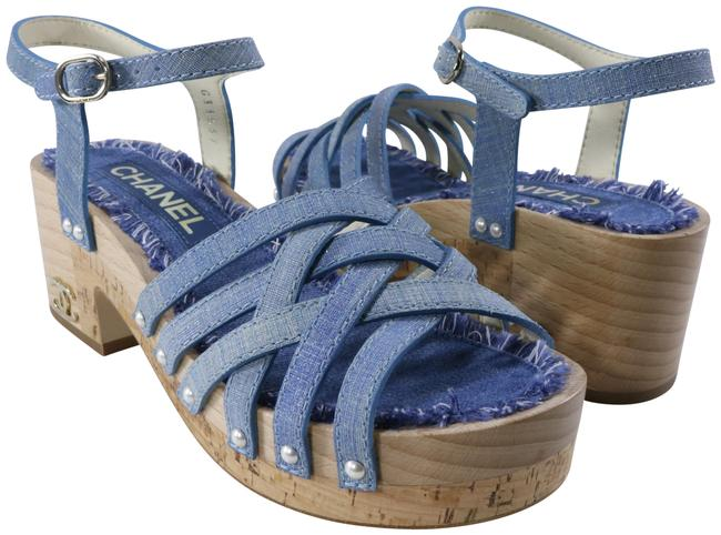 Item - Blue Tweed Denim Fringe Pearl Studded Platform Wood Logo B931 Sandals Size EU 36 (Approx. US 6) Regular (M, B)