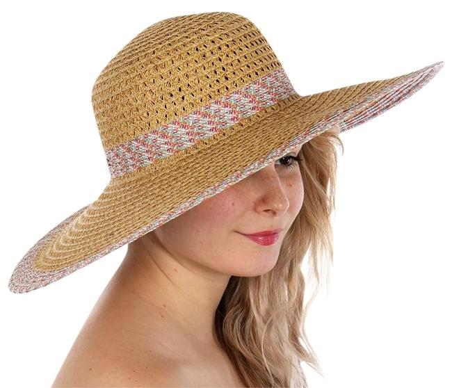 Item - Tan New Woven Band Large Floppy Hat