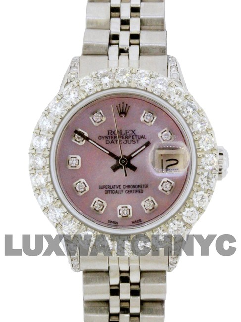 Rolex Pink Mop Dial 2.8ct Ladies 26mm Datejust Stainless with Appraisal Watch Rolex Pink Mop Dial 2.8ct Ladies 26mm Datejust Stainless with Appraisal Watch Image 1