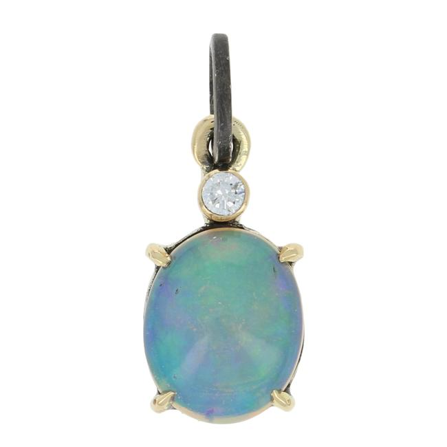 Item - Yellow/Silver New 1.93ctw Oval Cabochon Welo Opal & Diamond Pendant - 18k Gold E3840