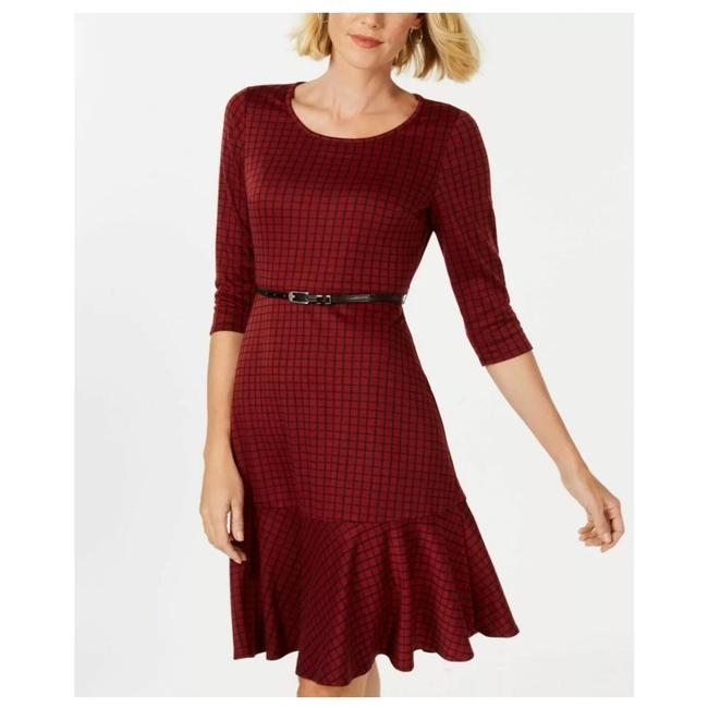 Preload https://img-static.tradesy.com/item/25772197/ny-collection-red-ponte-knit-plaid-short-workoffice-dress-size-petite-2-xs-0-0-650-650.jpg