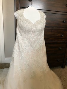 David's Bridal Ivory with Hints Of Rose Polyester and Nylon Formal Wedding Dress Size 16 (XL, Plus 0x)