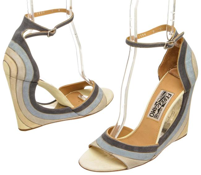 Item - Blue and Multicolor 492125 Suede Ankle Wrap Sandals Wedges Size US 8 Regular (M, B)