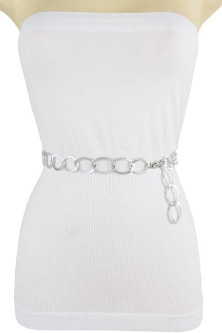 Alwaystyle4you Silver XS Women Fashion Skinny Shiny Metal Chain Link Size S M Belt Alwaystyle4you Silver XS Women Fashion Skinny Shiny Metal Chain Link Size S M Belt Image 1