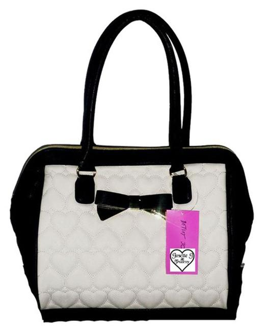 Item - Be My Sweetheart /Quilted Heart/ Bone/Black Bone/Black Faux Leather Satchel