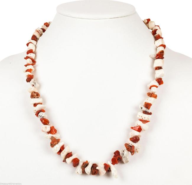 Red & White And Mediterranean Nugget Coral Necklace Red & White And Mediterranean Nugget Coral Necklace Image 1