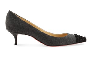 Christian Louboutin Velvet Suede Leather Gray Pumps