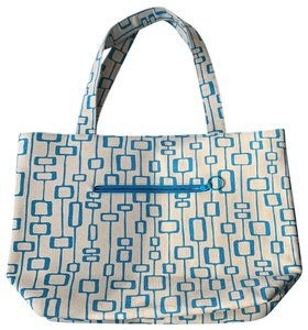 angela adams Tote in beige and blue