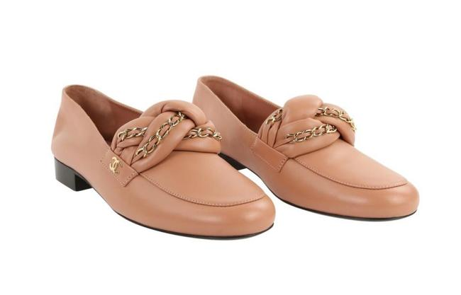 Item - Pink Leather Braided Gold Chain Cc Logo Loafers Flats Size EU 40 (Approx. US 10) Regular (M, B)