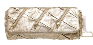 Christian Louboutin Leather Zippers Metallic Gold Clutch