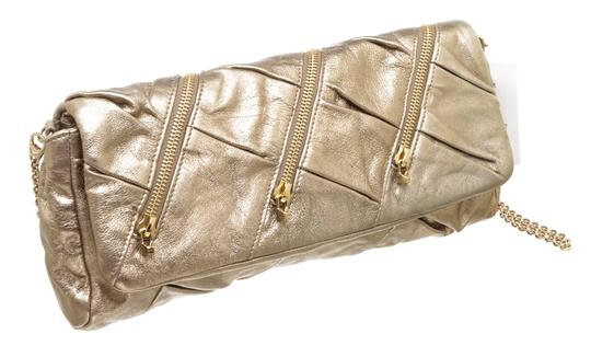 Christian Louboutin Leather Zippers Metallic Gold Clutch Image 1
