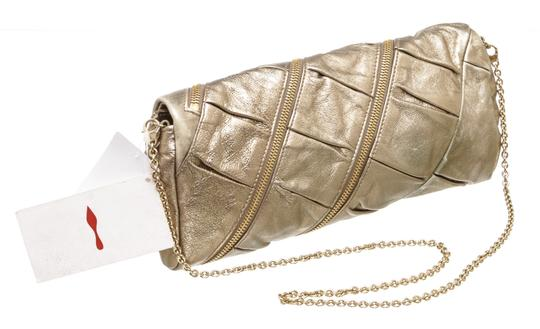 Christian Louboutin Leather Zippers Metallic Gold Clutch Image 2