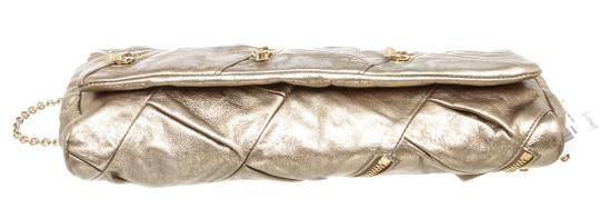 Christian Louboutin Leather Zippers Metallic Gold Clutch Image 3