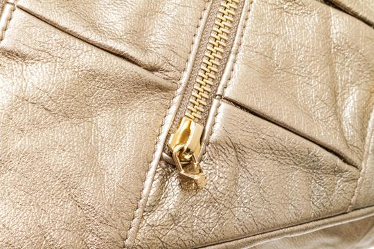 Christian Louboutin Leather Zippers Metallic Gold Clutch Image 6