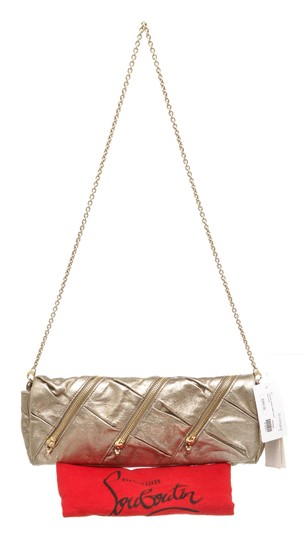 Christian Louboutin Leather Zippers Metallic Gold Clutch Image 7