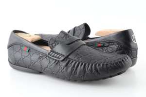 Gucci Black Gucissima Signature Web Leather Loafers Shoes