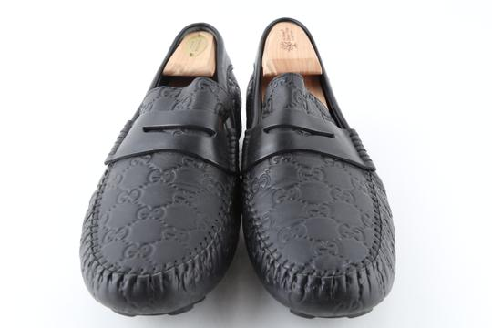 Gucci Black Gucissima Signature Web Leather Loafers Shoes Image 2