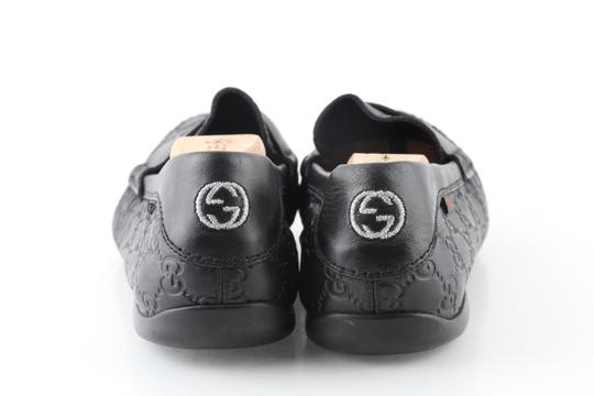 Gucci Black Gucissima Signature Web Leather Loafers Shoes Image 3