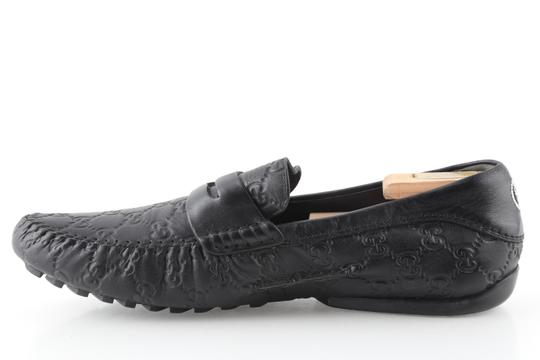 Gucci Black Gucissima Signature Web Leather Loafers Shoes Image 5