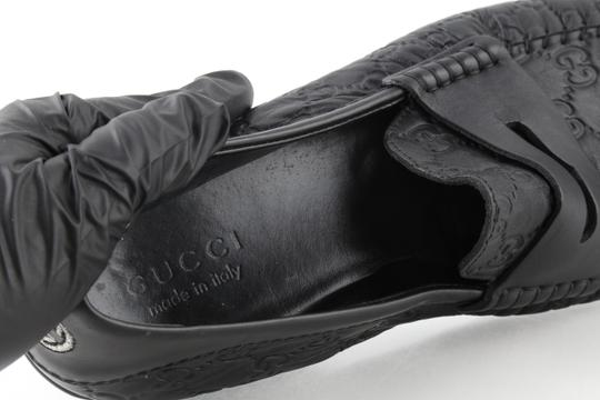 Gucci Black Gucissima Signature Web Leather Loafers Shoes Image 8