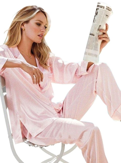 Item - Pink Afterhours Satin Striped Pajamas Button-down Top Size 8 (M)