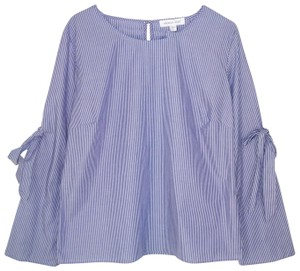 Amour Vert Striped Organic Cotton Bows Top