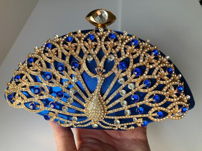 Item - Blue and Gold and Rhinestone Clutch Evening Bridal Handbag