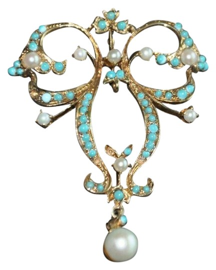 Preload https://img-static.tradesy.com/item/25773932/yellow-gold-vintage-art-deco-14k-pearl-and-turquoise-charm-0-1-540-540.jpg