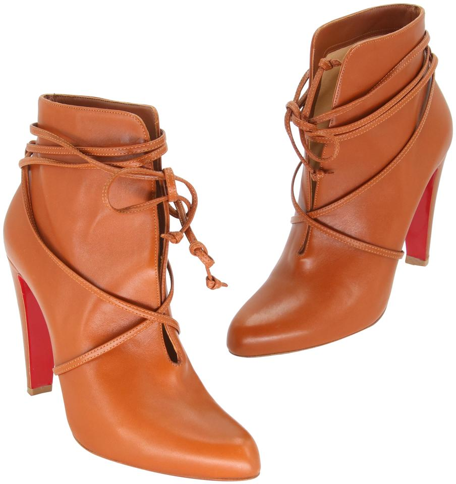 info for e56da 32c2a Christian Louboutin Brown Nappa Leather S.i.t. Rain Wrap Ankle  Boots/Booties Size US 10 Regular (M, B) 54% off retail