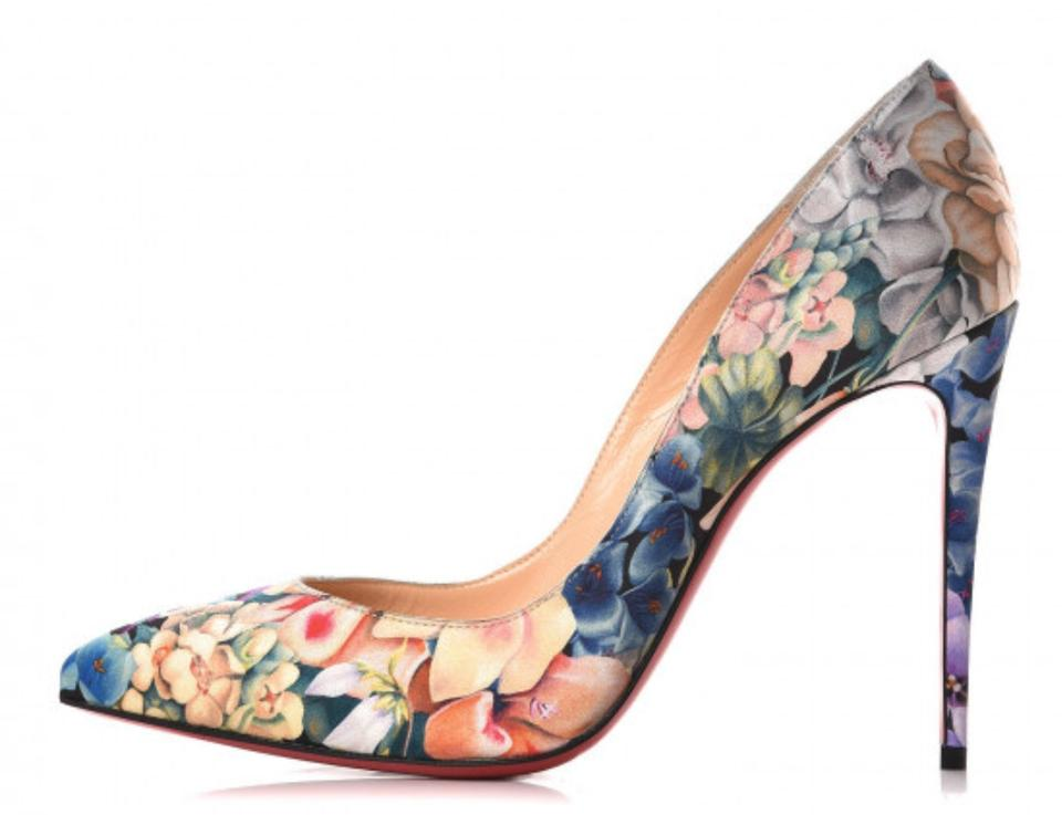 info for 7fd71 06262 Christian Louboutin Multicolor Pigalle Follies Floral Power Silk Printed  Classic 100mm Heels B949 Pumps Size EU 38 (Approx. US 8) Regular (M, B) 34%  ...