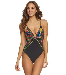 Nanette Lepore Nanette Lepore Isla Marietas Plunging One-Piece Swimsuit w/ Embroidery