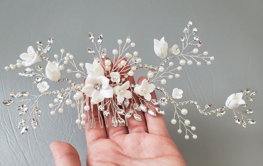White Silver Bride Crystal Pearl Large Head Hairpieces Flower Gift Hair Accessory Image 3