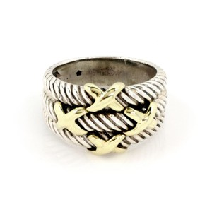 David Yurman Sterling & 14k Gold Triple Cable X Design Band Ring