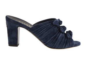 Chanel Heels Knotted Bow Blue Mules